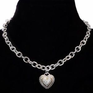 Sterling Silver 14kt Gold Genuine Diamond Necklace